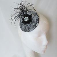 Silver Grey and Black Feather Cocktail Percher Hat Fascinator Lace Headpiece