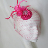 Cerise Raspberry Pink Feather Vintage Style Clip In Blusher Birdcage Veil