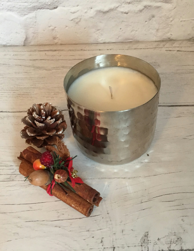 Soy Candle  - Eco Soy Wax - Raspberry & Peppercorn - Textured Metal Container