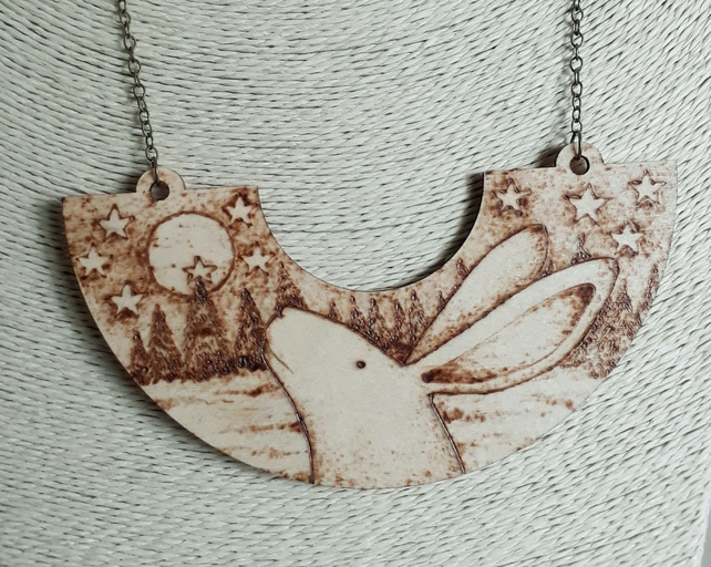 Pyrography moon gazing hare pendant