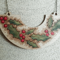Pyrography wooden holly pendant