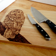 Pyrography tawny owl wooden serving or chopping board