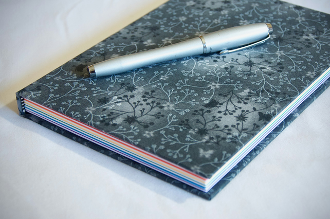 A5 Hardback Notebook with full cloth grey flower cover