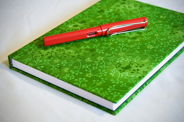 A5 Hardback Lined Notebook with full cloth green flower cover