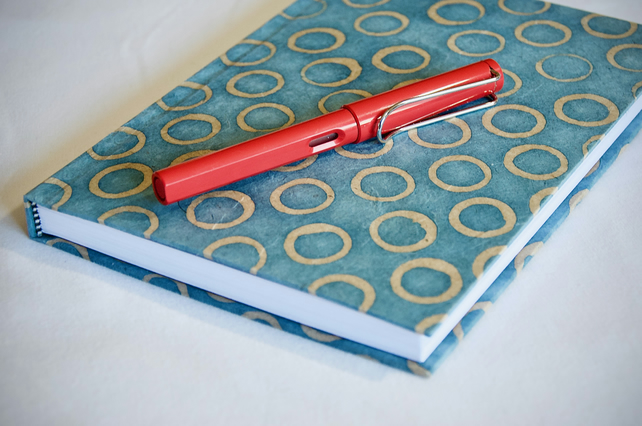 A5 Hardback Music Manuscript Notebook with blue circle handmade paper cover