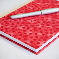 A5 Hardback Notebook with full cloth red spotty cover