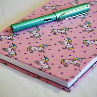 A5 Hardback Notebook with full cloth pink unicorn cover