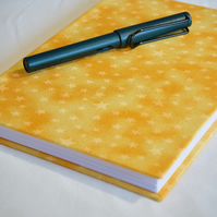 A5 Hardback Notebook with full cloth yellow star cover