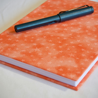 A5 Hardback Notebook with full cloth orange star cover