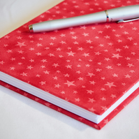 A5 Hardback Notebook with full cloth red star cover