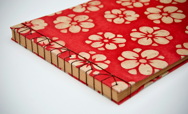 Red flower photo album with Japanese stab binding