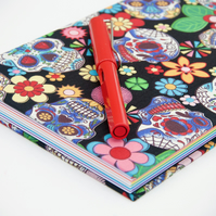 A5 hardback notebook with full cloth colourful skull cover