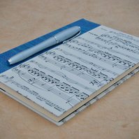 A5 Quarter-bound Hardback Lined Notebook with upcycled music cover
