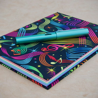 A5 Hardback Notebook with full cloth colourful music cover