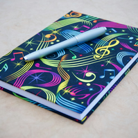 A5 Hardback Notebook with full cloth musical cover