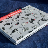 A5 Notebook with crazy cat fabric cover