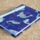A6 Lined Notebook with full cloth smiley sea creatures cover