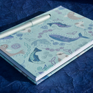 A5 Notebook with smiley sea creatures fabric cover