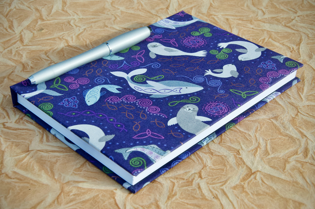 A5 Lined Notebook with full cloth sea creature cover