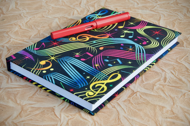A5 Hardback Music Manuscript Notebook with bright music fabric cover