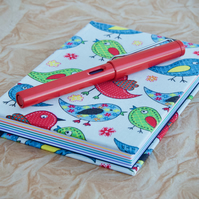 A6 Hardback notebook with full cloth bright bird cover