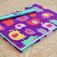 A5 Notebook with full cloth bright elephant cover