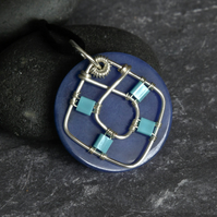 Dark Blue Dyed Jade and Silver Wire Work Pendant Choker