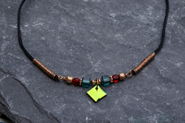 Yellow, Red and Teal, Dichroic Glass and Copper Bead Work Pendant Necklace
