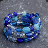 Blue and Silver Glass and Porcelain Beaded Bracelet