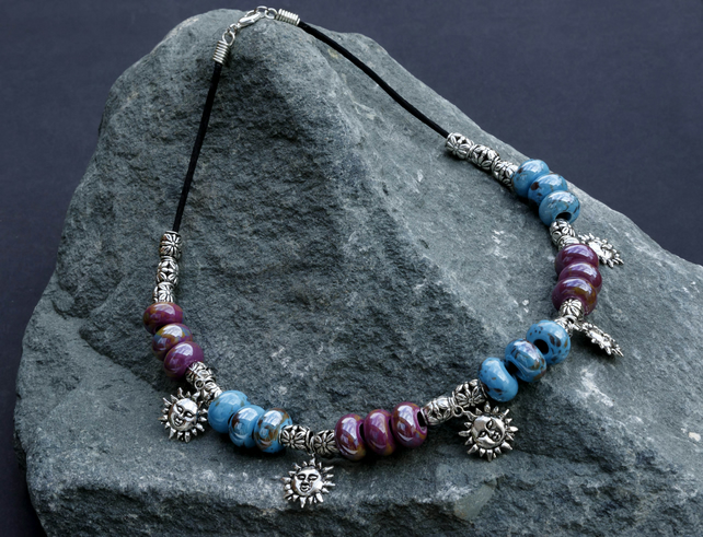 Turquoise, and Mauve Porcelain and Silver Sun Charm Beaded Necklace