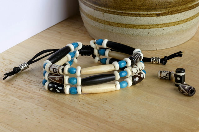 Batik Bone and Turquoise Wood Beaded Bracelet