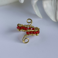 Red Glass Beaded and Brass Wire Wrapped Ring