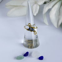 Blue Sea Glass and Brass Wire Wrapped Ring