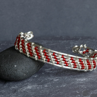 Red Glass and Silver Plated Wire Work Cuff Bracelet