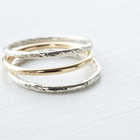 Handmade 14K Solid Yellow Gold & 925 Sterling Silver Stacking Rings - Set of 3