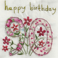 age 90 floral birthday card