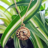 Sun and crescent moon disk talisman pendant gold silver 925