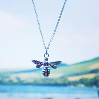 Sterling silver Manchester bee pendant necklace bumble honey