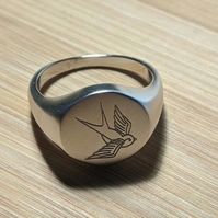 Sterling silver retro tattoo swallow engraved signet ring
