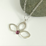 Sterling Silver Flower Pendant Necklace - Pink Tourmaline