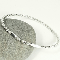 Sterling Silver Twisted Bangle - Double Twist