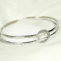 Sterling Silver Bangles with Beaded Rings - Silver Bracelet Set