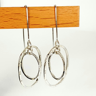 Silver Earrings, Dangle Hoops