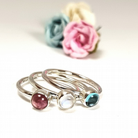 Silver Gemstone Stacking Rings - Pink Sky