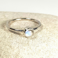 Sterling Silver Moonstone Stacking Ring