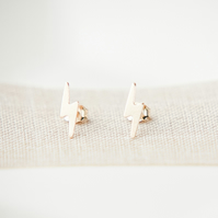 Gold Fill Lightening Bolt Stud Earrings