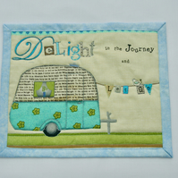 """Delight in the Journey' Mug Rug with Vintage Caravan Detail"