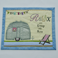 'Relax and Enjoy the Ride' Mug Rug with Vintage Caravan Detail
