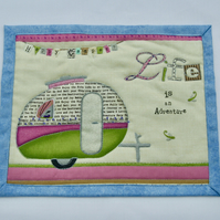 'Life is an Adventure' Mug Rug with Vintage Caravan Detail