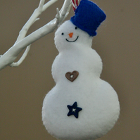 Festive Felt Snowman Christmas Tree Decoration